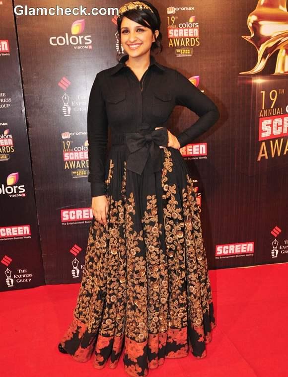 Parineeti Chopra in Sabyasachi Mukherjee maxi dress at Colors Screen Awards