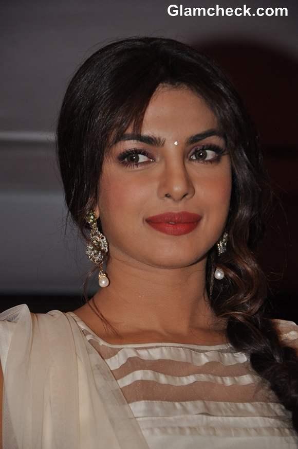 Priyanka Chopra hairstyle makeup 2013 traditional