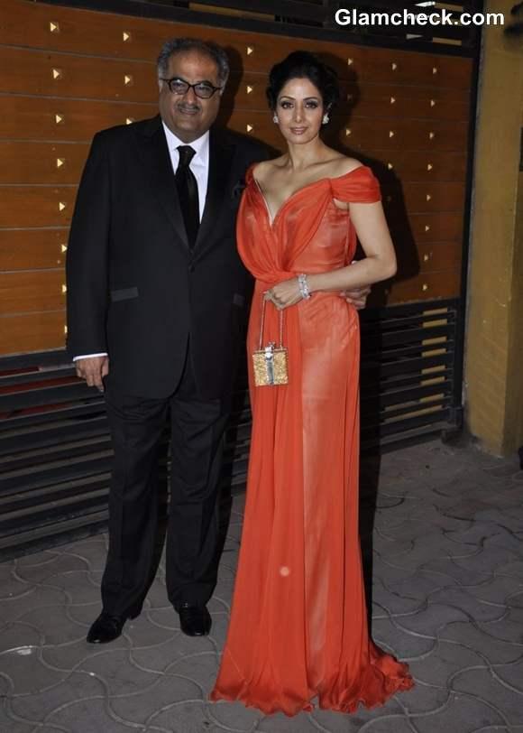 Sridevi with husband Boney Kapoor filmfare awards 2013