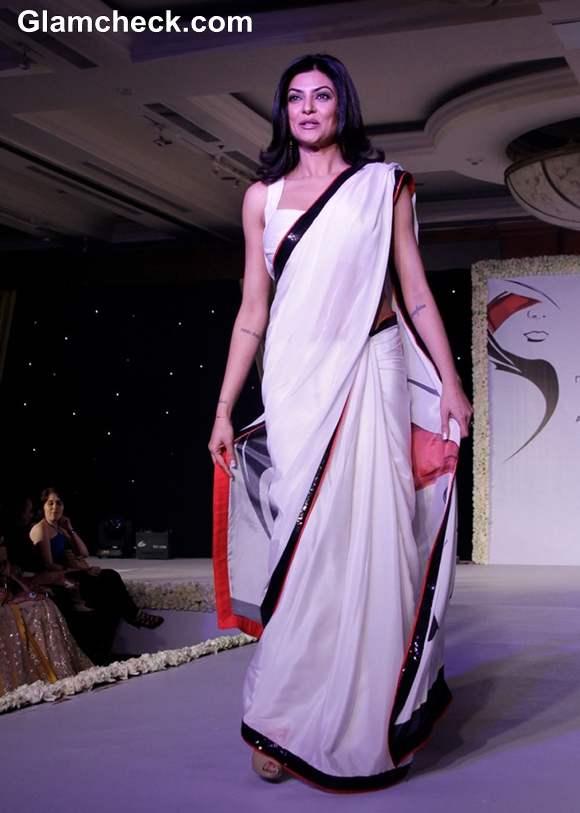 Sushmita Sen white sari At Anu Ranjan's Beti Movement Fashion Fundraiser