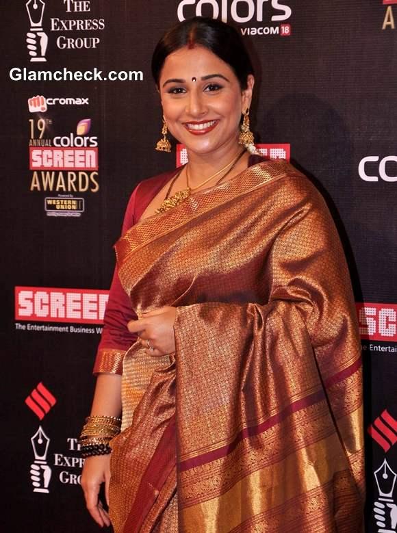 Vidya Balan 2013 In Kanjeevaram At The 19th Annual Colors Screen Awards