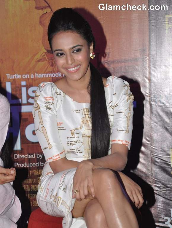 actress Swara Bhaskar at the first look of film Listen Amaya in PVR Cinemas Mumbaia