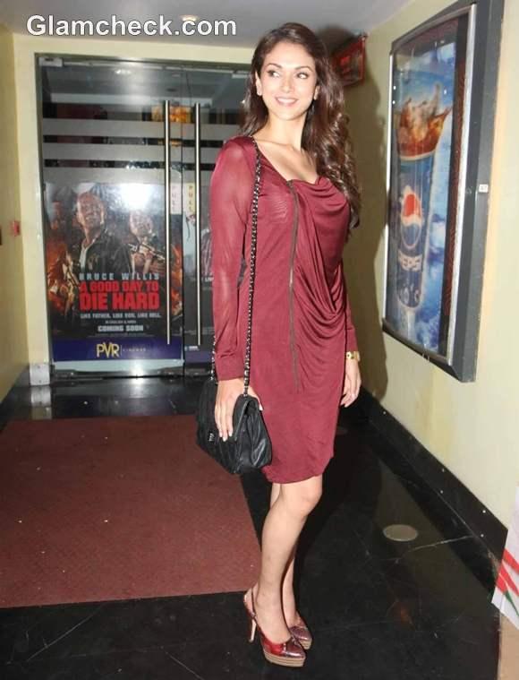 Aditi Rao Hydari Red Carpet In Burgundy Dress