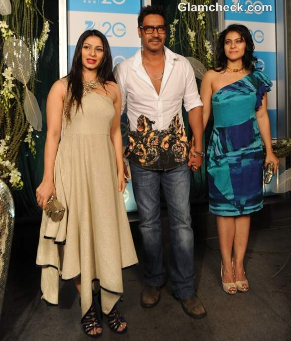 Ajay Devgan with wife Kajol Devgn and sister-in-law Tanisha Mukherjee at TVs 20 Years Celebration Bash