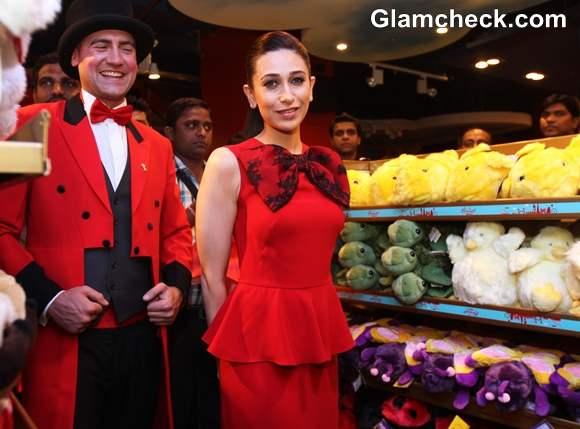 Karisma Kapoor In Red Peplum Dress At Hamleys Toy Store Launch In Delhi
