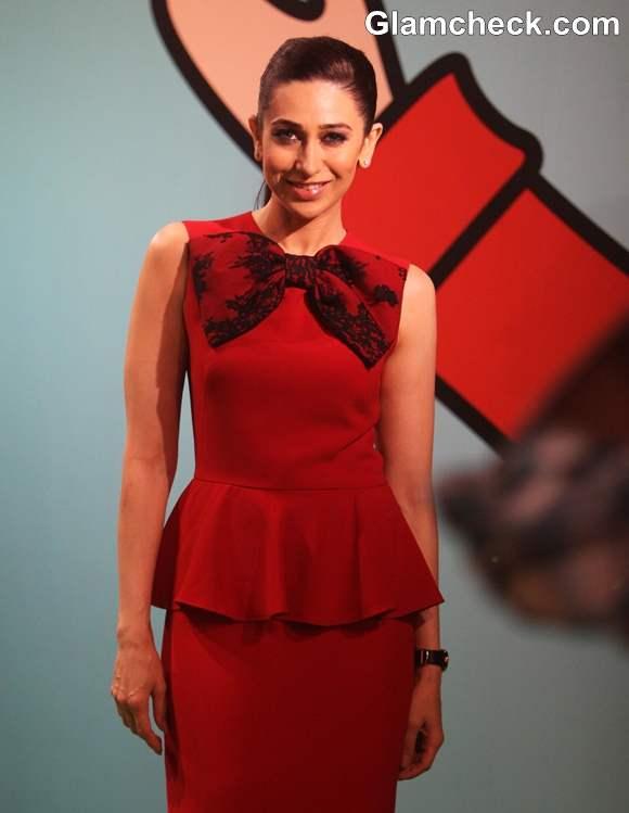 Karisma Kapoor hot red peplum dress