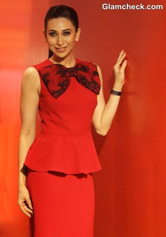 Karisma Kapoor In Red Peplum Dress At Hamleys Toy Store