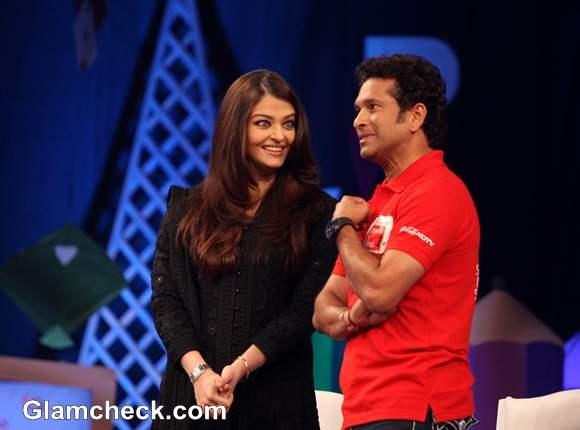Sachin Tendulkar Aishwarya Rai at NDTV Coca Cola Support My School Campaign