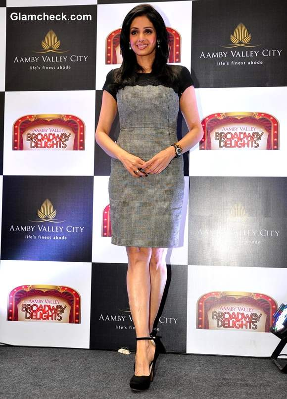 Sridevi in Zara dress At The Launch Of Aamby Valley Broadway Delights In Mumbai