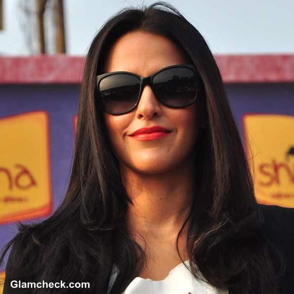 Bollywood Celeb Makeup Trend Orange Lips- Neha Dhupia