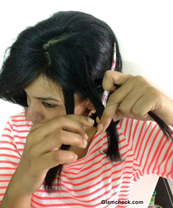 DIY Holi Hairstyle side braid colored bobby pins
