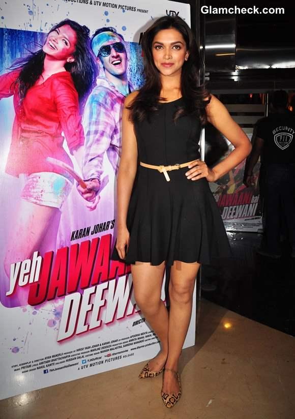 Deepika Padukone black dress at Yeh Jawaani Hai Deewani Theatrical Launch