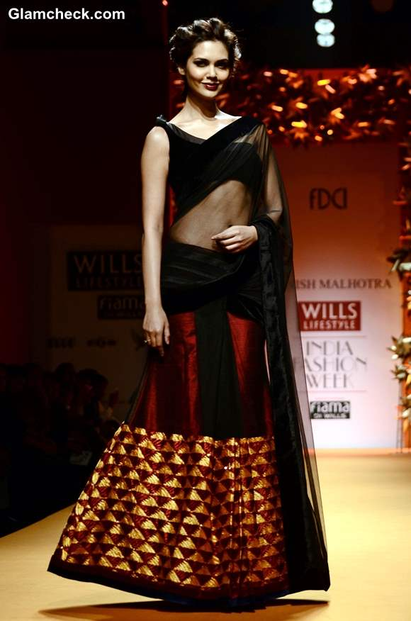 Esha Gupta at Manish Malhotra Show WIFW Fall-Winter 2013