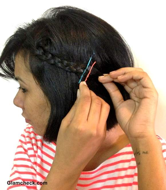 Hairstyle side braid with colored bobby pins