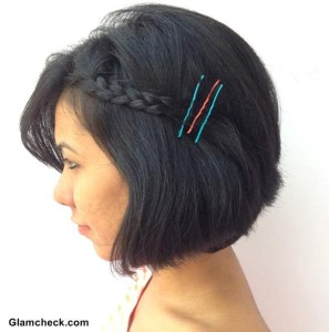 Holi Hairstyle : Side Braided Bob with DIY colored Bobby Pins