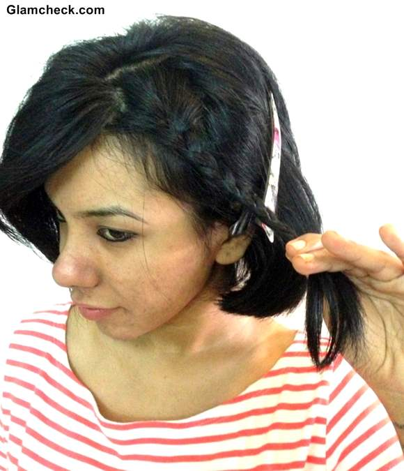 Holi Hairstyle side braid colored bobby pins