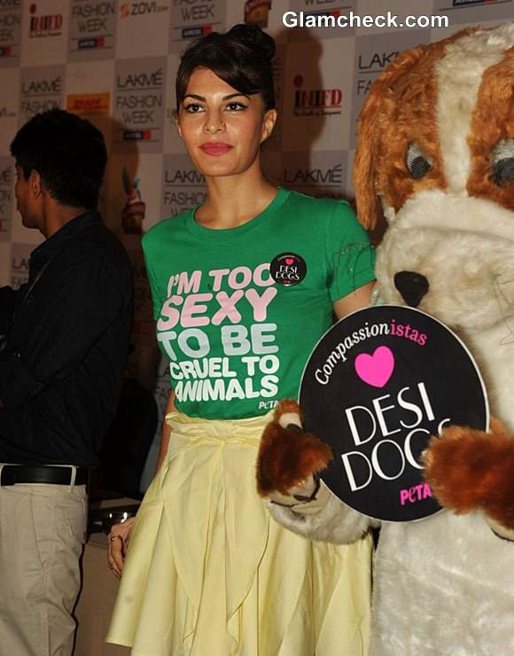 Jacqueline Fernandes Shows off Animal-Friendly Side at PETA Campaign
