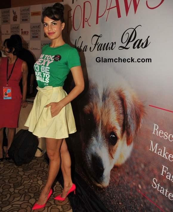 Jacqueline Fernandes in skirt at PETA Campaign