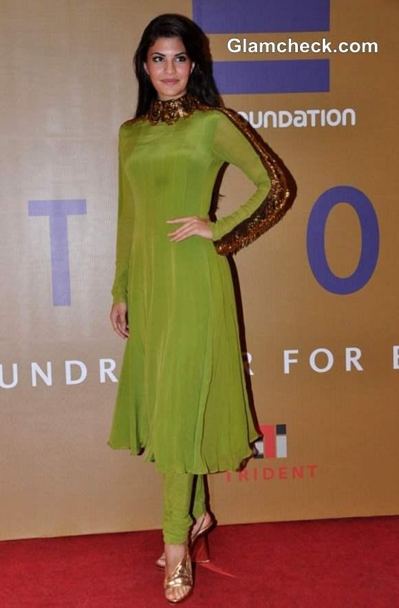 Jacqueline Fernandez in green at Equation 2013 Fundraiser