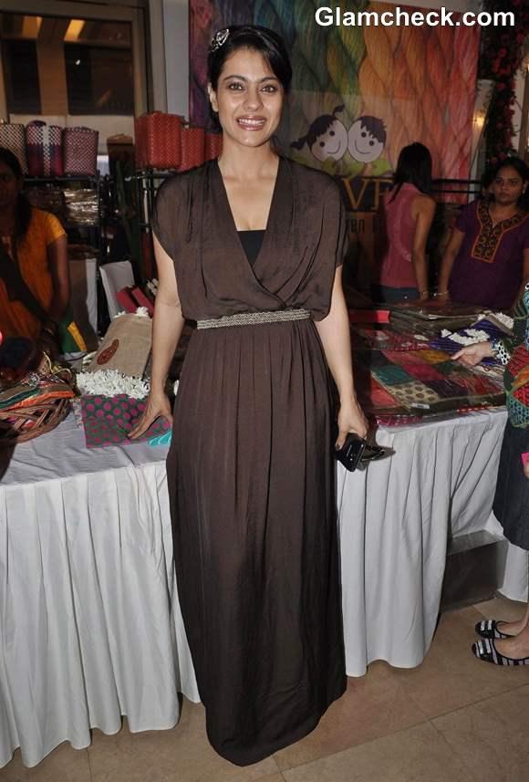 Kajol in brown maxi dress 2013
