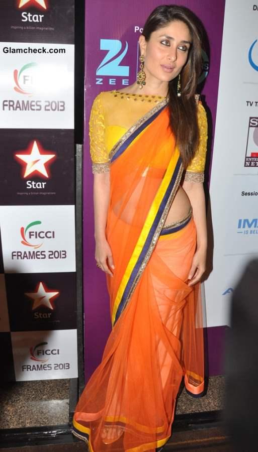 Kareena Kapoor Vibrant in Colorful Sari at FICCI FRAMES 2013 Inauguration