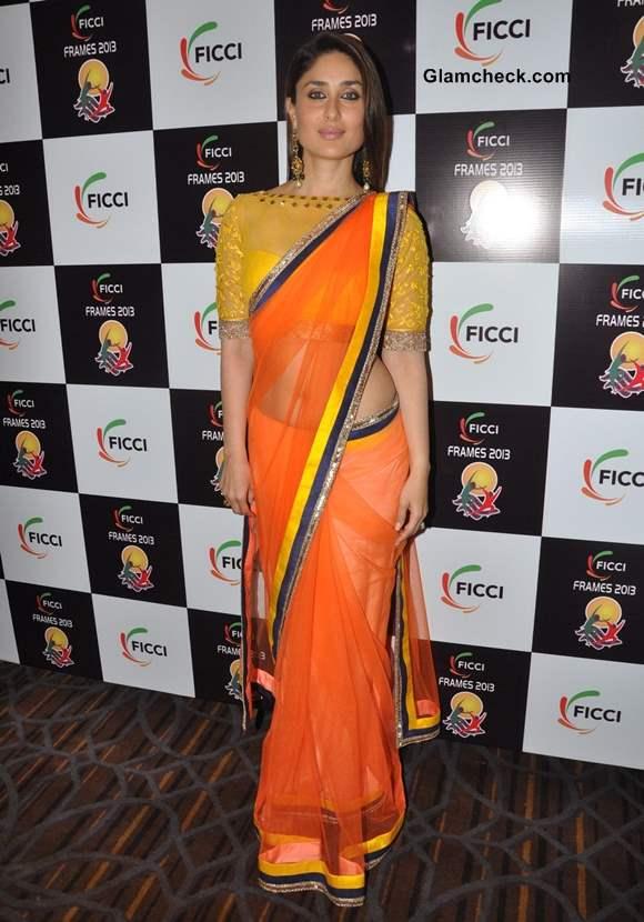 Kareena Kapoor Vibrant in Colorful Sari at FICCI FRAMES ...