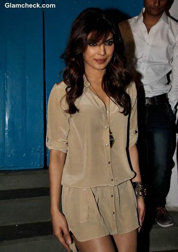 Priyanka Chopra 2013 in Beige Shirt Dress