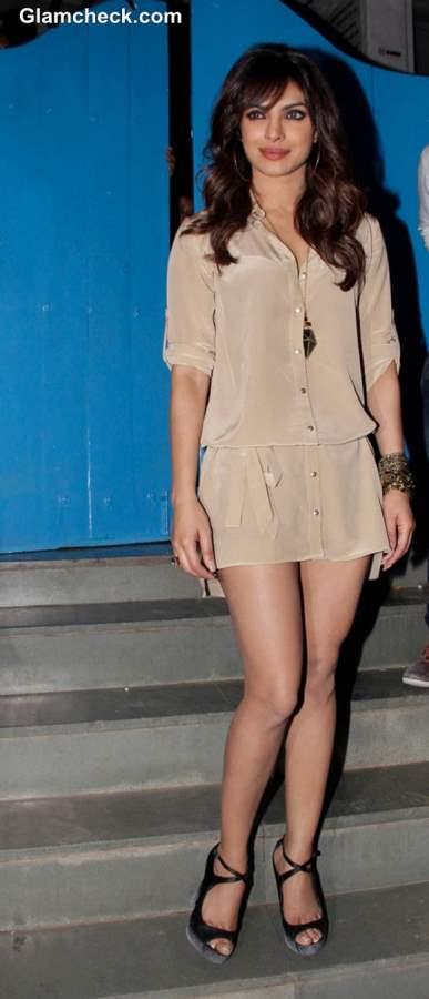 Priyanka Chopra Cute Amp Sexy In Beige Shirt Dress