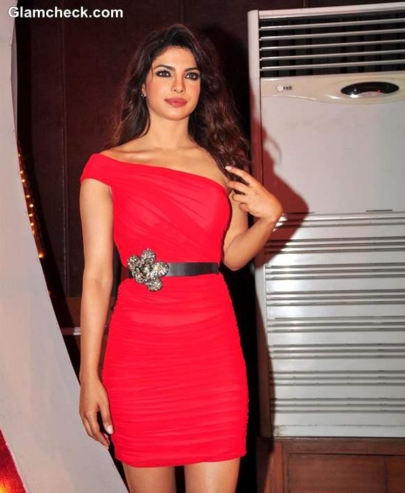 Priyanka Chopra in red mini dress