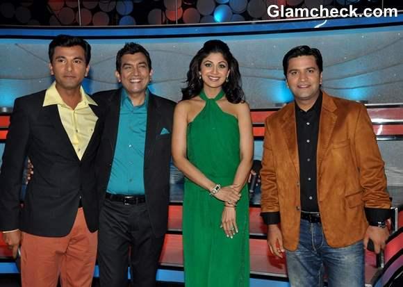 Shilpa Shetty in Green Jumpsuit on Nach Baliye 5