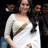 Sonakshi Sinha white saree at Lootera Trailer Launch
