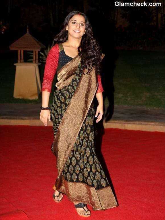 Vidya Balan in Black Saree LOreal Paris Femina Women Awards 2013