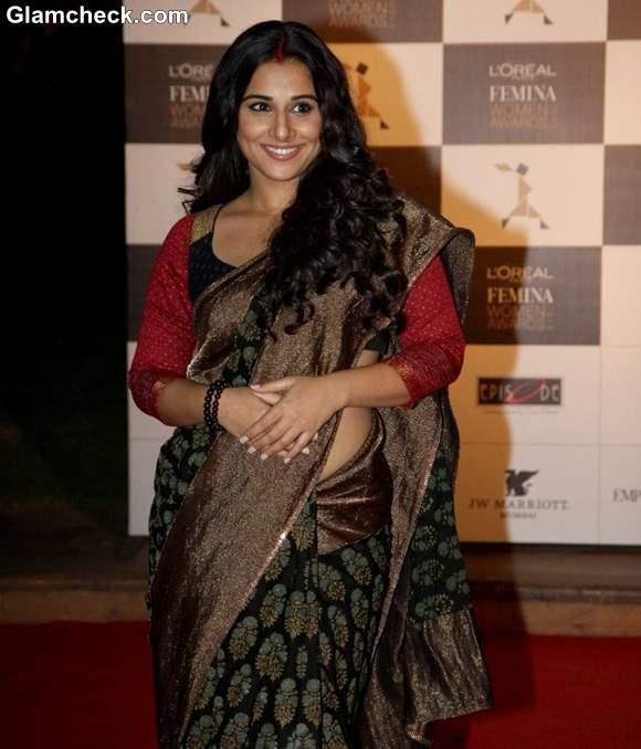 Vidya Balan in Black Saree at LOreal Paris Femina Women Awards 2013