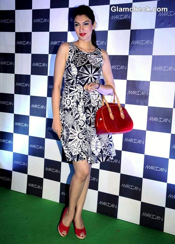 Yukta Mookhey at New Marc Cain Store in Black and white dress