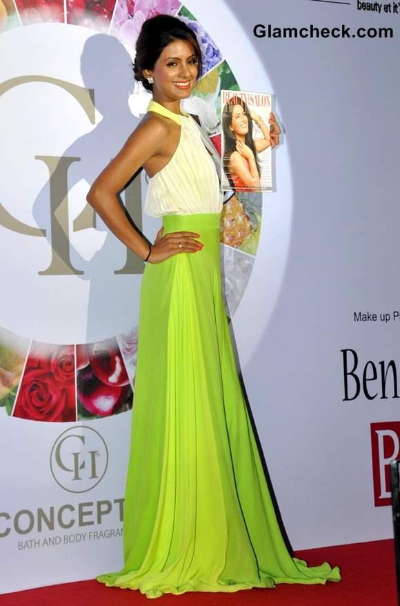 Geeta Basra in Lime Green Gown at Beauty Salon Inaugural Launch