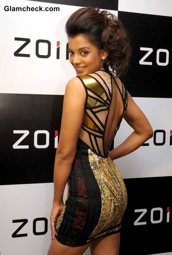 Mugdha Godse golden mini dress at Zoiroin Launch