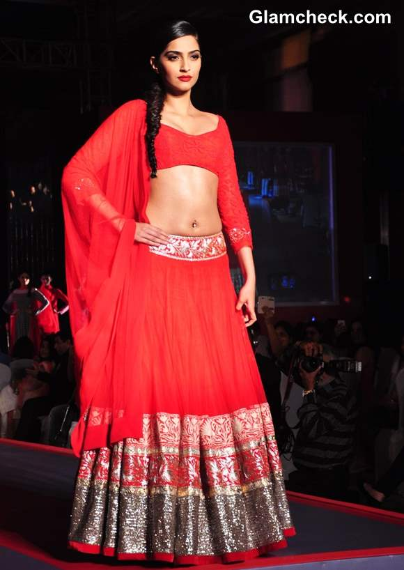 Sonam Kapoor in Red lehenga by Manish Malhotra 2013