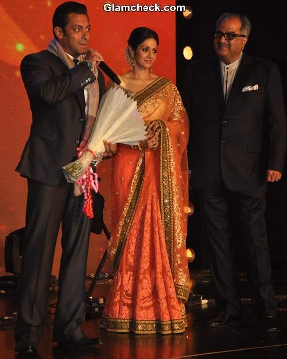 Sridevi in Sari at Marathi Channel Jai Maharashtra Launch