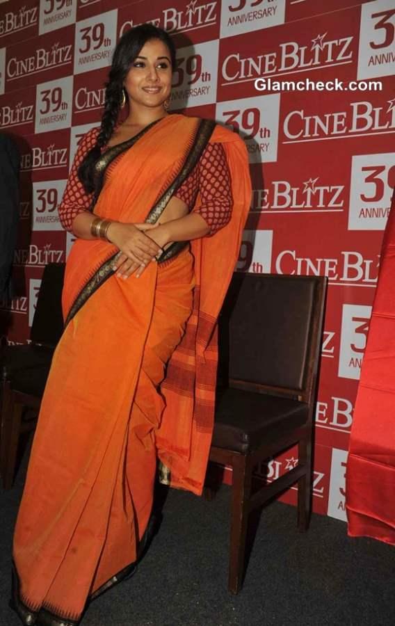Vidya Balan orange saree 2013