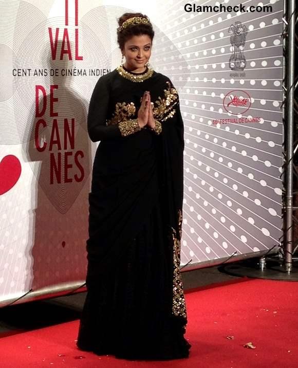 Aishwarya Rai Black sari 2013 Cannes Film Festival