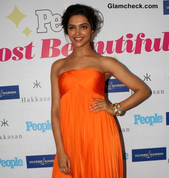 Deepika Padukone in Flowy Orange Gown 2013