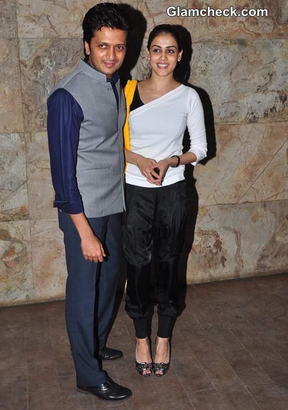 Genelia Dsouza ritesh deshmukh 2013 at Bombay Talkies Screening