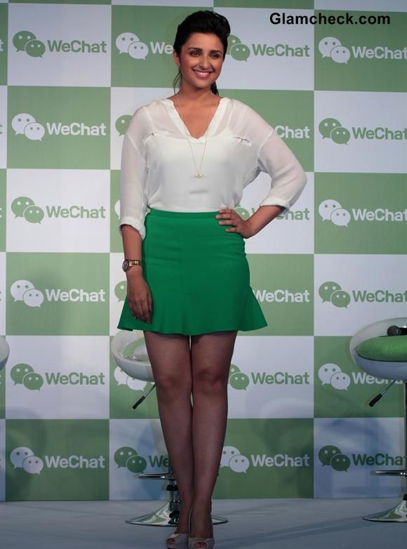 Parineeti Chopra  Green Skirt at WeChat Messenger Launch
