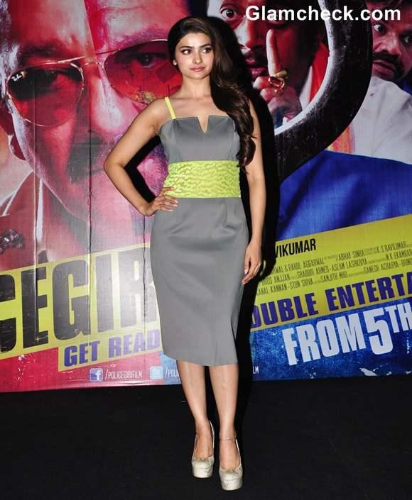 Prachi Desai Grey Yellow Dress at Policegiri First Look