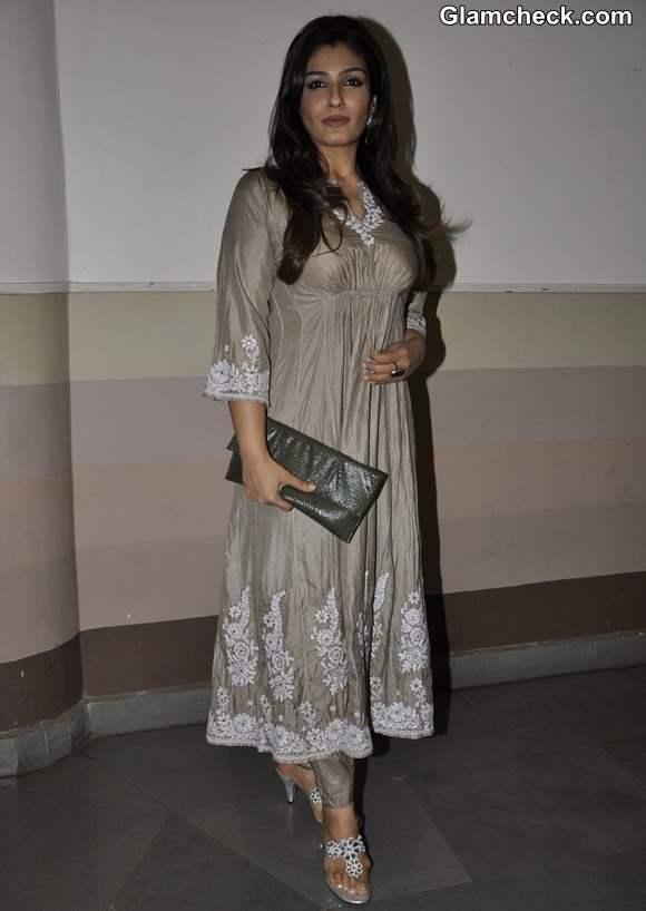 Raveena Tandon Launches Maa in Dove Grey Salwar Kameez