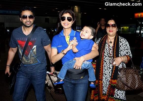 Shilpa Shetty Family mumbai airport look