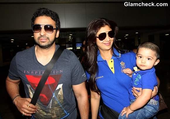 Shilpa Shetty with Raj Kundra and Son Viaan