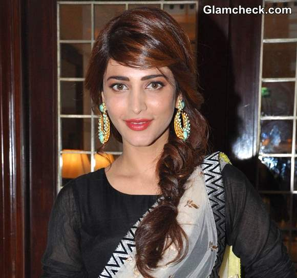 Shruthi Hassan Messy Fishtail Plait hairstyle 2013