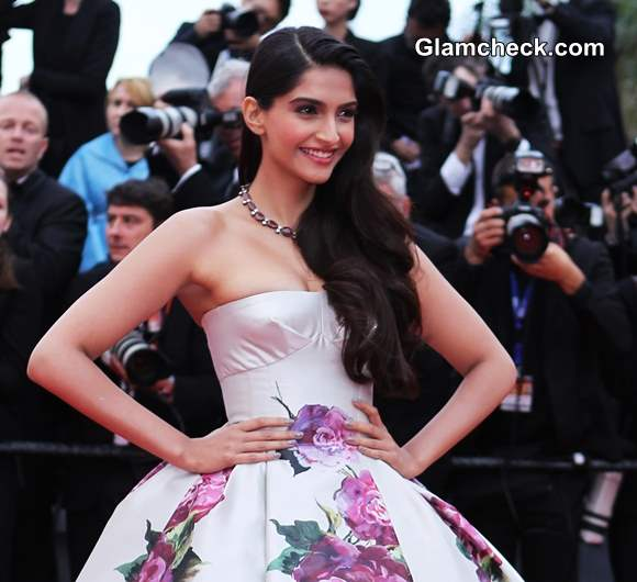Sonam Kapoor in Floral Princess Gown at Cannes Film Festival 2013