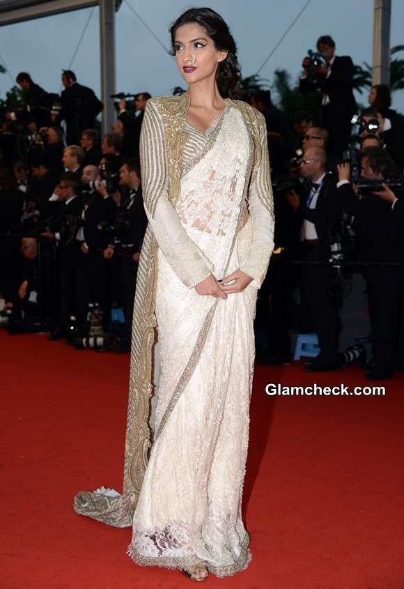 Sonam Kapoor in Lace Sari 2013 Cannes Film Festival Opening Ceremony
